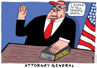 Political Cartoon U.S. Trump William Barr DOJ maga oaths the art of the deal