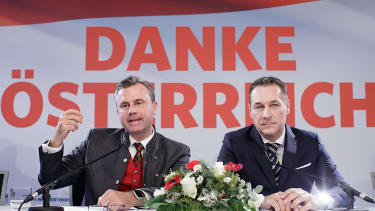 Austrian Freedom Party candidate Norbert Hofer and leader Heinz-Christian Strache at a press conference