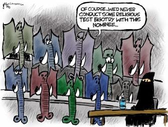 Political Cartoon U.S. GOP Amy Coney Barrett religion