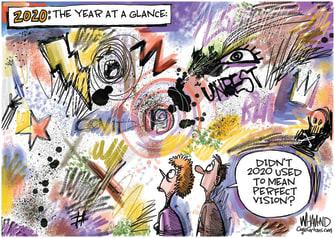 Editorial Cartoon U.S. 2020 Pandemic Unrest Crazy Year