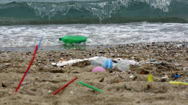 Plastic garbage on a beach.