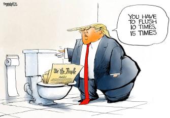 Political Cartoon U.S. Trump Impeachment Flush Constitution