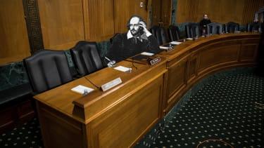 William Shakespeare takes his seat in the Senate.