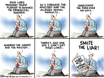 Political Cartoon U.S. Trump evangelical supporter supreme court LGBTQ ruling