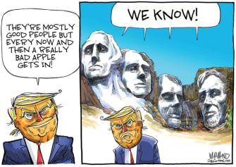 Political Cartoon U.S. Trump bad apples mount rushmore