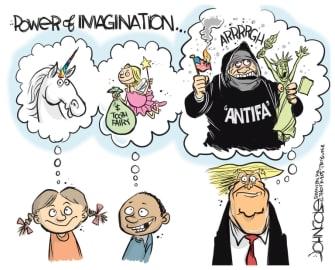 Political Cartoon U.S. Trump antifa imagination