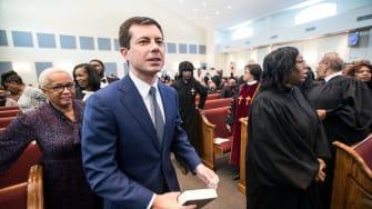 Pete Buttigieg in church