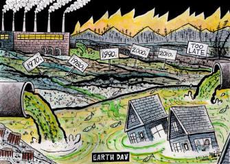 Editorial Cartoon U.S. earth day decades