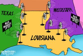 Editorial Cartoon U.S. louisiana texas mississippi mask mandates covid