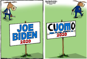 Political Cartoon U.S. Joe Biden Andrew Cuomo DNC Coronavirus response presidential primaries candidate