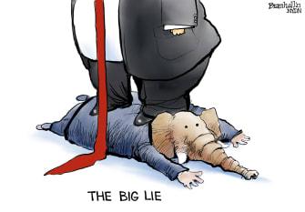 Political Cartoon U.S. trump gop big lie