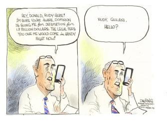 Political Cartoon U.S. Trump giuliani dominion lawsuit