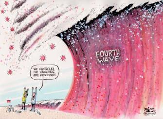 Editorial Cartoon U.S. covid vaccines fourth wave