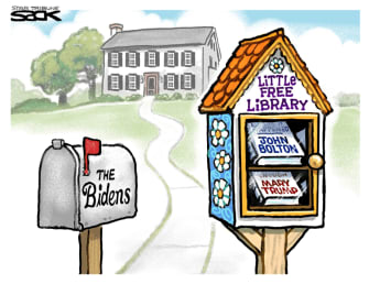Political Cartoon U.S. Biden little library bolton mary trump books