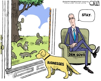 Editorial Cartoon U.S. democratic governors coronavirus business reopening