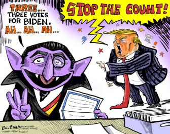 Political Cartoon U.S. Trump 2020 count