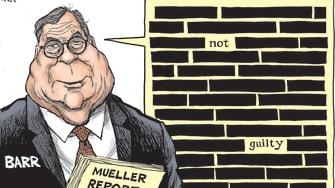 Political Cartoon U.S. Trump William Barr Mueller Report no collusion investigation