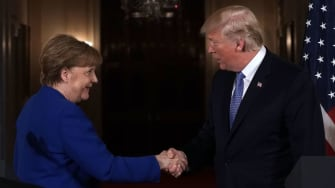 President Trump with German Chancellor Angela Merkel