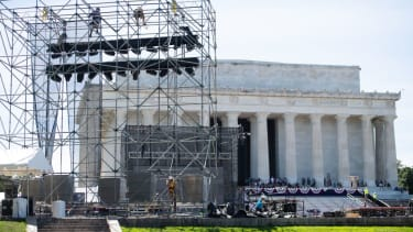 Workers prepare 4th of July event for Trump