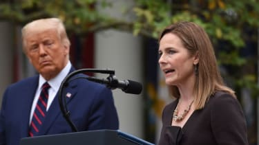 Donald Trump and Amy Coney Barrett.