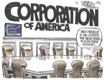 Editorial Cartoon U.S. corporations morality