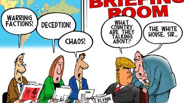Political Cartoon U.S. President Trump briefing room White House chaos