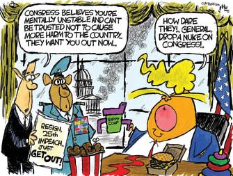 Political Cartoon U.S. Trump Capitol riot congress 25th amendment