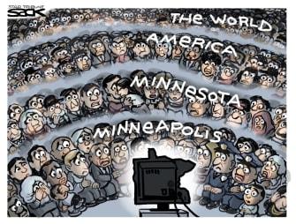 Political Cartoon U.S. derek chauvin trial tv