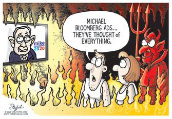Political Cartoon U.S. Bloomberg ads millions hell torture facebook TV