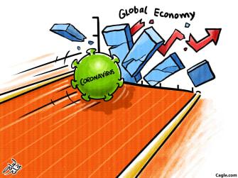 Editorial Cartoon U.S. coronavirus strikes global markets bowling