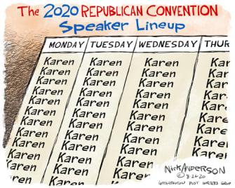 Political Cartoon U.S. 2020 RNC Karens