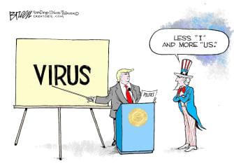 Political Cartoon U.S. Trump Uncle Sam Coronavirus briefing health crisis response