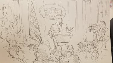 Sketch of Sean Spicer at press briefing.