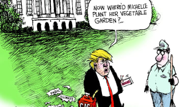 Political cartoon U.S. Trump Paris Agreement Michelle Obama