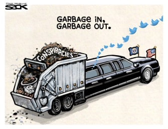 Political Cartoon U.S. Trump twitter conspiracies