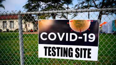 A sign to get COVID-19 testing.