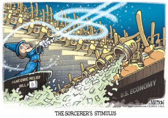 Political Cartoon U.S. Pelosi coronavirus stimulus sorcerer fantasia