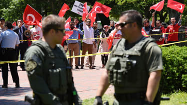 Pro-Erdogan supporters rally outside the White House.