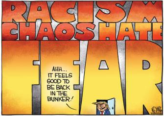 Political Cartoon U.S. Trump bunker chaos hate George Floyd