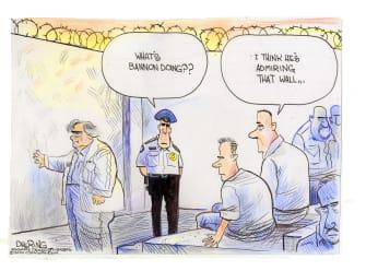 Political Cartoon U.S. Bannon jail wall