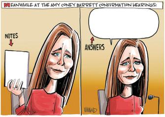 Political Cartoon U.S. Amy Coney Barrett hearing