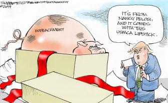 Political Cartoon U.S. Trump Impeachment Pelosi Present Pig USMCA