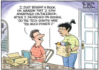 Editorial Cartoon U.S. Google Facebook Amazon tech giants