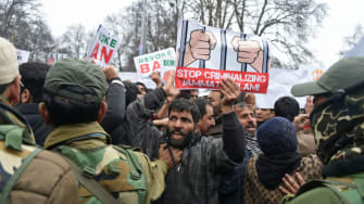 A protest in Kashmir.