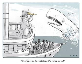 Political Cartoon U.S. Trump moby dick coronavirus