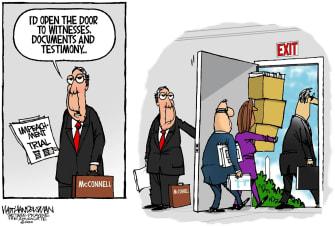 Political Cartoon U.S. Mitch McConnell impeachment GOP senate trial documents evidence
