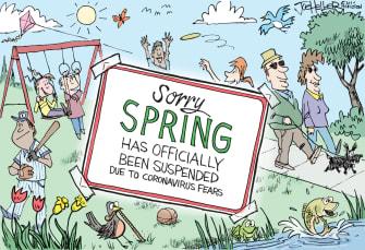 Editorial Cartoon U.S. Spring is canceled March coronavirus