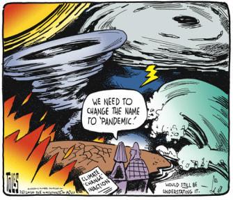 Editorial Cartoon U.S. climate change pandemic