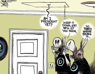 Political Cartoon U.S. Joe Biden DNC Democrats primary hiding quiet
