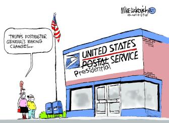 Political Cartoon U.S. Trump USPS 2020 election
